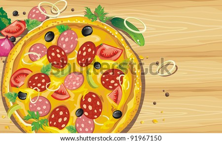 Big pizza with sausage on a wooden table. Abstract Elegance food background. - stock vector