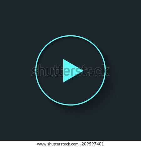 Big Play button in flat style. Vector illustration.  - stock vector