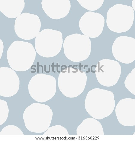 Big polka dots pattern. Elegant polka dots texture in grey and white colors. Vector dotted background. - stock vector