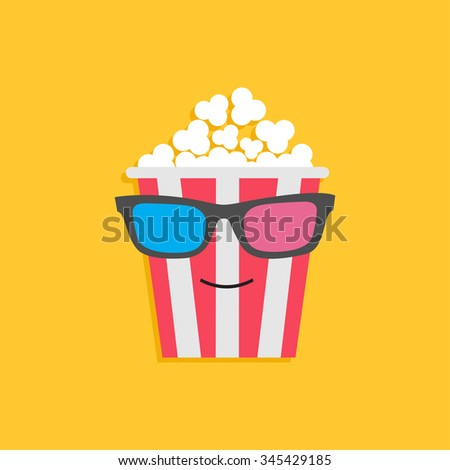 Big popcorn box face in 3D glasses. Cinema icon Flat design style. Vector illustration - stock vector