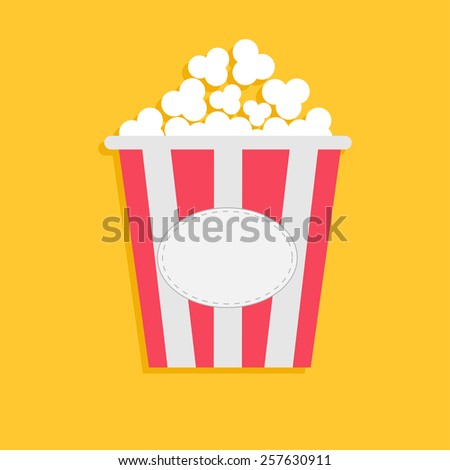 Big Popcorn with empty label tag. Cinema icon in flat dsign style. Vector illustration - stock vector