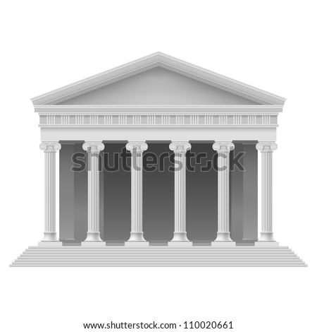 Big Portico an ancient temple. Colonnade. Illustration on white - stock vector
