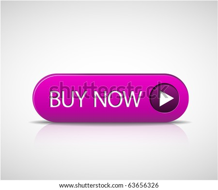 Big purple buy now button with shadow and reflections - stock vector