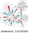 Big red and blue fireworks on white background - stock photo