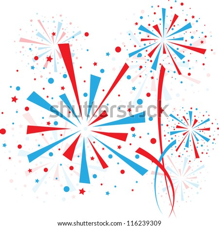 Big red and blue fireworks on white background - stock vector