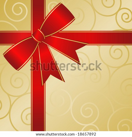 Big red bow on gold giftwrap with abstract scrolls is a gift package abstract. - stock vector