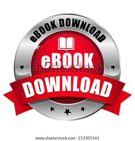 Big red ebook download button - stock vector