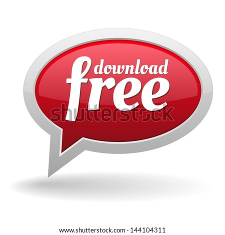 Big red free download speech bubble - stock vector