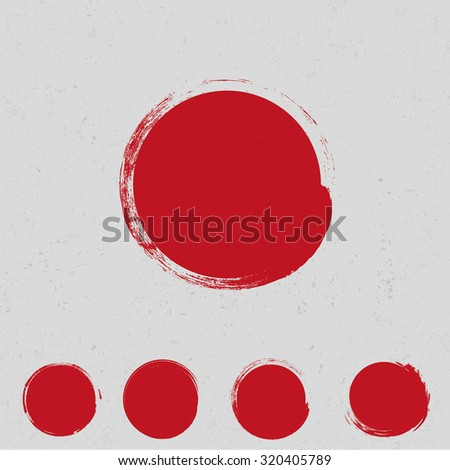 Big red grunge circle - stock vector