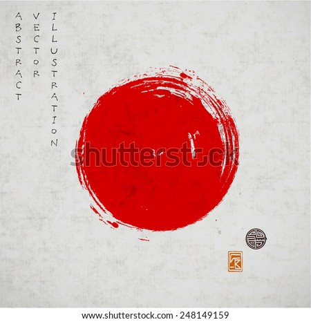 Big red grunge circle on old vintage background. Sealed with decorative stamps. Stylized symbol of Japan. Vector illustration. - stock vector