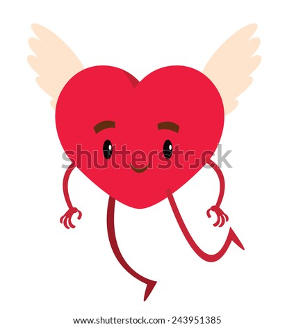 big red heart angel with wings for Valentine's day - vector illustration
