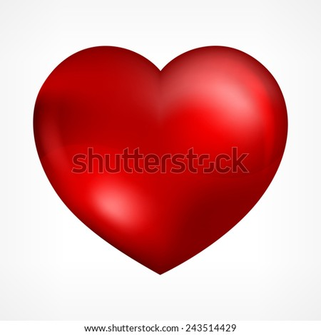 Big red heart isolated on white, vector illustration