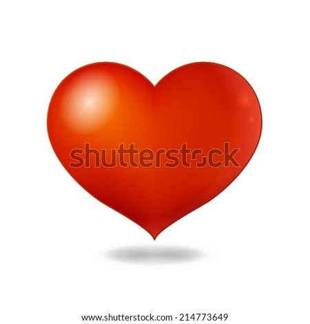 Big Red Heart On White Background - stock vector