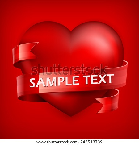 Big red heart with ribbon on red and text, vector illustration - stock vector