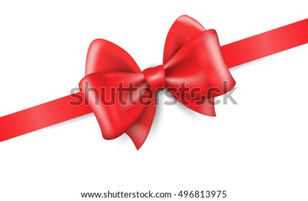 Big red holiday bow on white background, realistic vector illustration