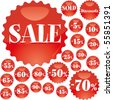 Big red Sale stickers, vector illustration - stock vector