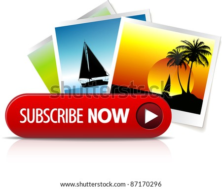 Big red subscribe now button with images for subscription - stock vector