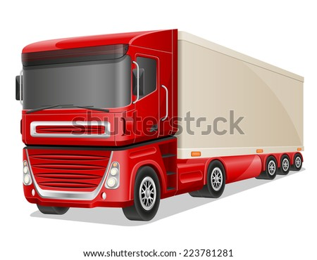 big red truck vector illustration isolated on white background - stock vector
