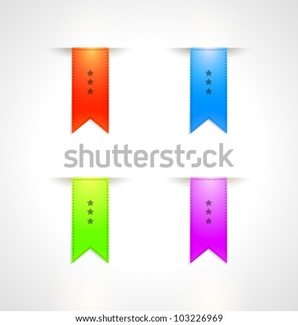 Big Ribbons Set, Isolated On White Background. Vector set. - stock vector