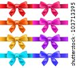 Big Ribbons With Bow, Isolated On White Background, Vector Illustration - stock vector