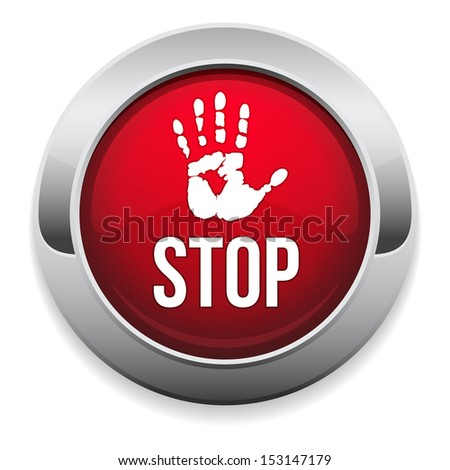 Big round stop button - stock vector
