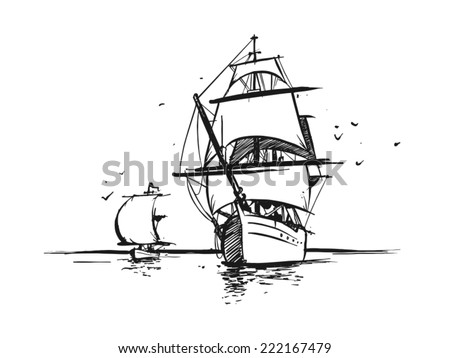 Big Sailboat and tiny sailing yacht in the ocean. Hand drawn style. Vector - stock vector