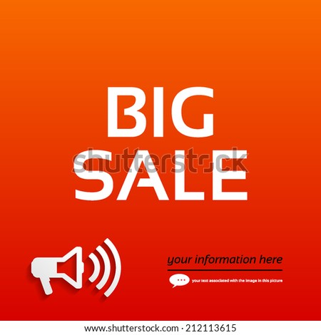 Big sale, a megaphone on a red background for your text - stock vector