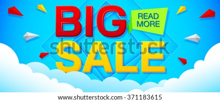 Big Sale and special offer banner on a bright blue background. Sale background. Sale poster. Sale vector. Geometric design. Vector illustration - stock vector