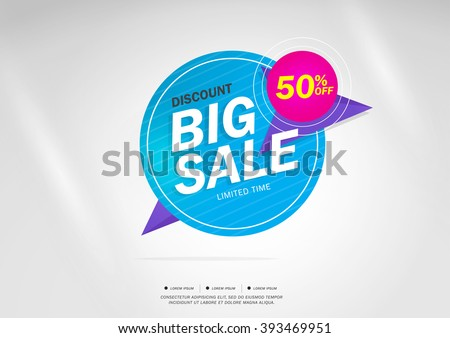 Big Sale and special offer. 50% off. Vector illustration.Theme color. - stock vector