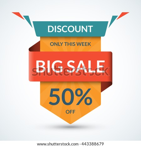 Big sale banner. Discount label. Best offer tag. 50 percent off vector background. Half price colorful sticker. Shopping badge - stock vector