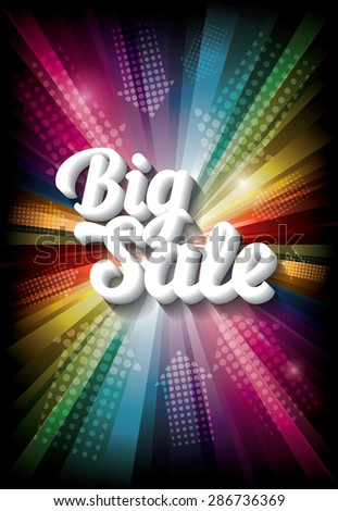 Big Sale banner on rainbow background. Vector illustration - stock vector