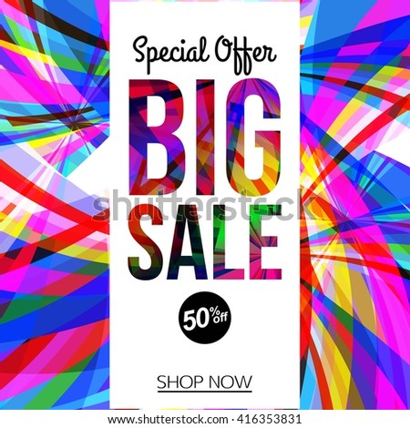 Big Sale Banner or Discount. Vector sale background. 50% off. Shop now. - stock vector