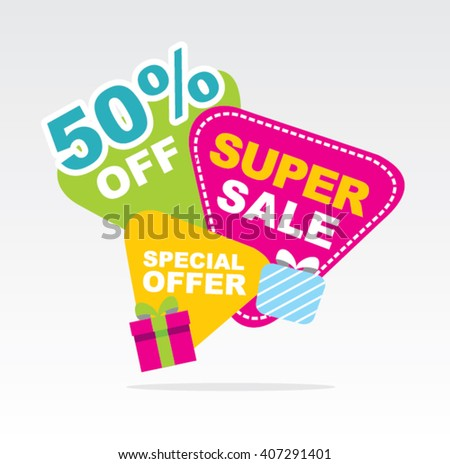 Big sale banner. Sale 50%off. Vector illustration.