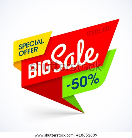 Big Sale banner. Special offer, up to 50% off. Vector illustration. - stock vector