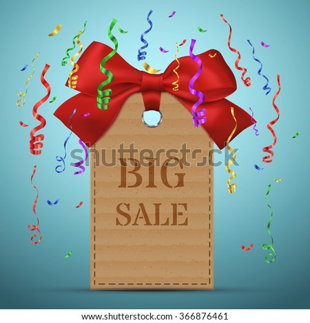 Big Sale banner with confetti. Old paper price tag or label with red bow. Vector Eps10 - stock vector