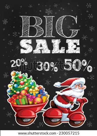 Big sale card with chalkboard and happy Santa Claus riding a bike - stock vector