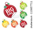 Big Sale Christmas Ball Sticker tags with Sale 10 - 50 percent text on Colorful Christmas Ball Sticker tags - EPS10 Vector - stock