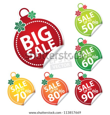 Big Sale Christmas Ball Sticker tags with Sale up to 50 - 90 percent text on Colorful Christmas Ball Sticker tags - EPS10 Vector - stock vector