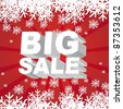 big sale christmas with snowflakes over red background. vector - stock vector