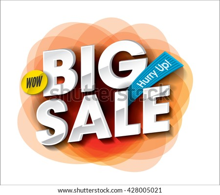 Big Sale concept with colorful round abstract label banner. sale layout design. Vector illustration - stock vector