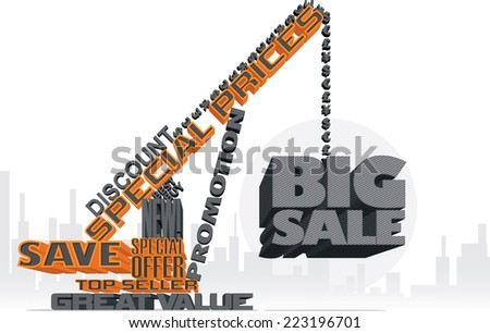 Big Sale 3D Text Crane - Vector illustration of a text-made crane supporting a big sale sign  - stock vector