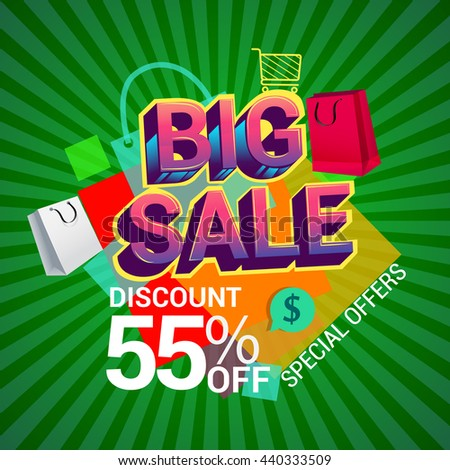 Big sale discount 55% off banner template design with colorful geometric background. Sale banner template design.