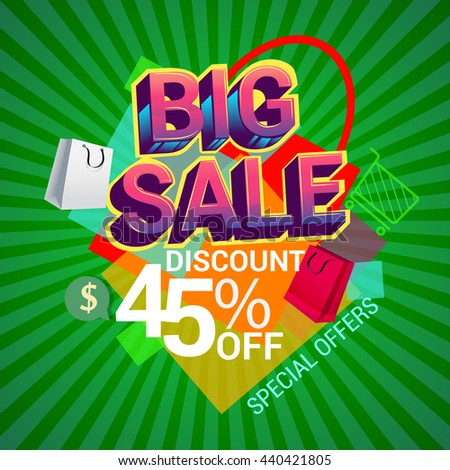 Big sale discount 45% off banner template design with colorful geometric background. Sale banner template design.