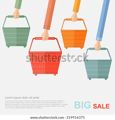 big sale flat illustration. hands hold of shopping baskets isolated on white - stock vector