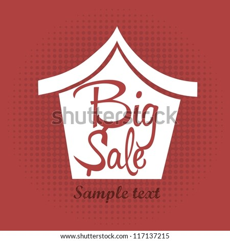 big sale house announcement over red background. vector - stock vector
