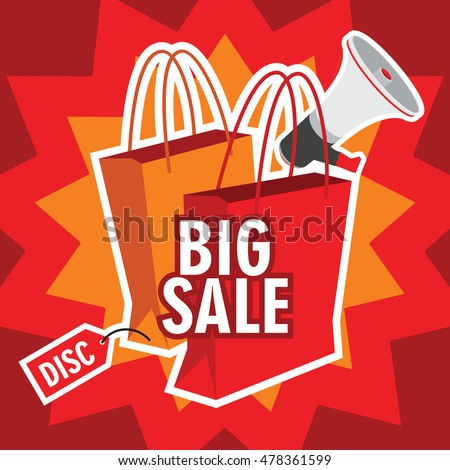 big sale illustration with shopping bag