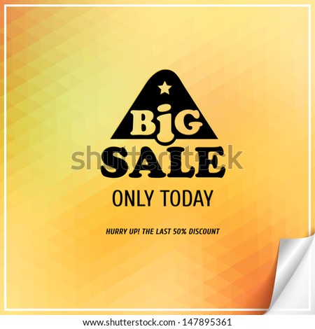 Big Sale label on a triangle background. - stock vector