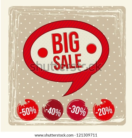 big sale label over beige background. vector illustration - stock vector