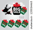 Big Sale New Year and Christmas Reindeer Sticker tags with Sale 10 - 50 percent text on Colorful Gift Box Sticker tags - EPS10 Vector - stock vector