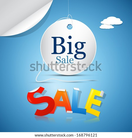 Big Sale on Blue Sky Background with Clouds - stock vector